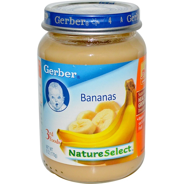 Gerber, 3rd Foods, NatureSelect, Bananas, 6 oz (170 g) (Discontinued Item)
