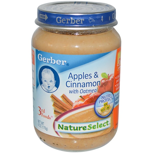 Gerber, 3rd Foods, NatureSelect, Apples & Cinnamon with Oatmeal, 6 oz (170 g) (Discontinued Item)