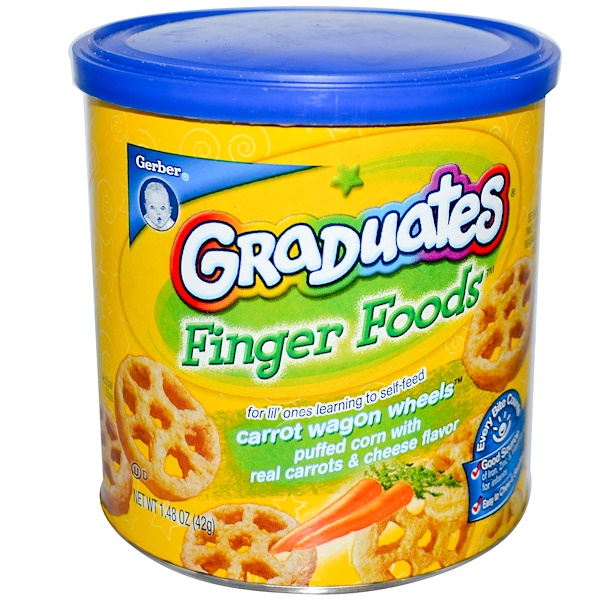 Gerber, Graduates Finger Foods, Carrot Wagon Wheels, 1.48 oz (42 g) (Discontinued Item)