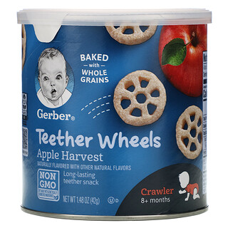 Gerber, وجبة خفيفة على شكل عجلات لمرحلة التسنين، للأطفال فما فوق 8 أشهر، محصود التفاح، 1.48 أونصة (42 جم)
