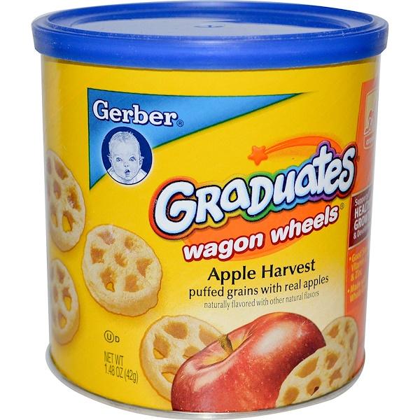 Gerber, Graduates Finger Foods, яблочные воздушные зёрна Wagon Wheels, 42 г