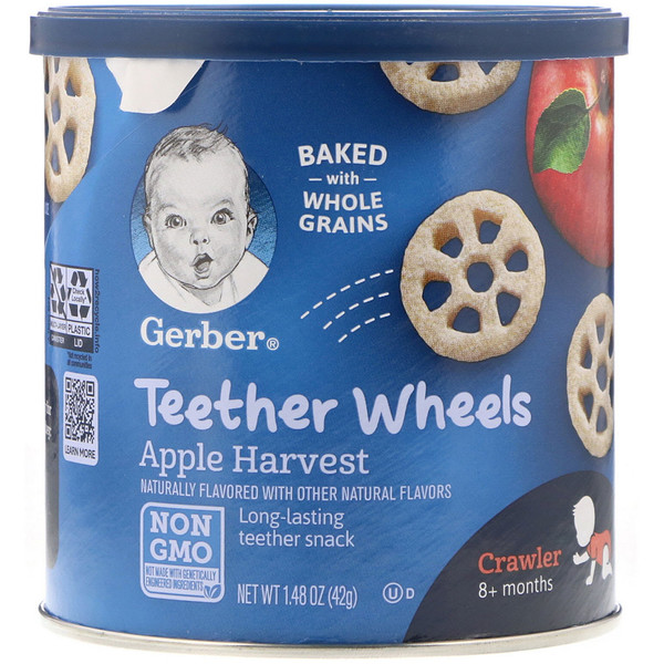 Gerber, Teether Wheels, Crawler, 8+Months, Apple Harvest, 1.48 oz (42 g)