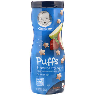 Gerber, Puffs Cereal Snack, 8+ Months, Strawberry Apple, 1.48 oz (42 g)