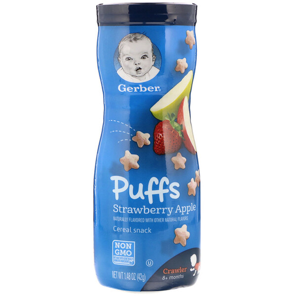 Puffs Cereal Snack, 8+ Months, Strawberry Apple, 1.48 oz (42 g)