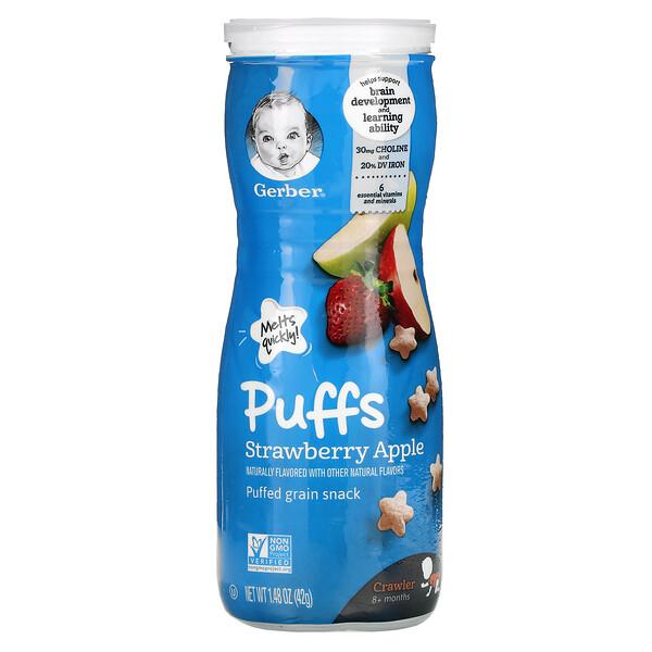 Puffs, Puffed Grain Snack, 8+ Months, Strawberry Apple, 1.48 oz (42 g)