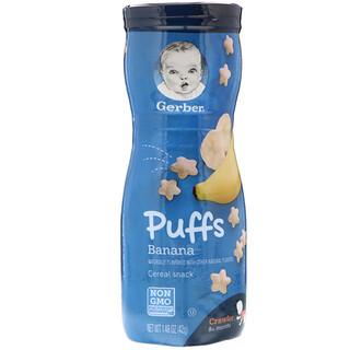 Gerber, Biscoito de Cereais Puffs, Para Bebês que Engatinham, Maiores de 8 Meses, Banana, 1,48 oz (42 g)