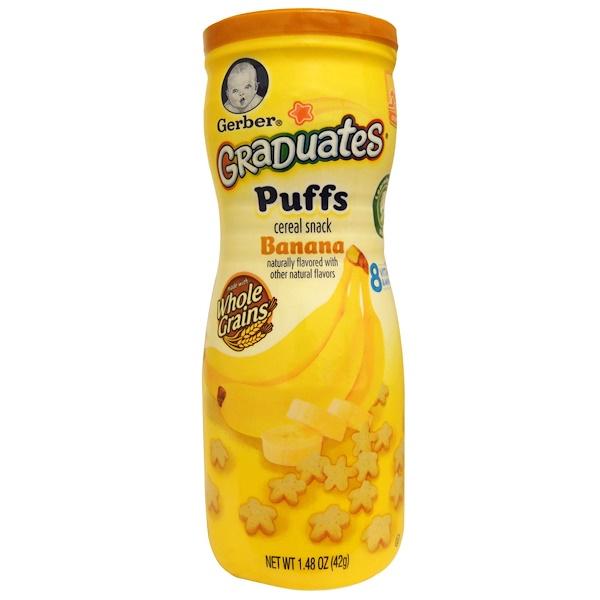 Gerber, Graduates, Puffs Cereal Snack, Banana, Crawler, 1.48 oz (42 g)