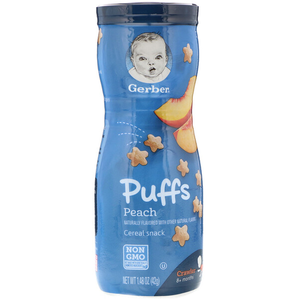 Puffs Cereal Snack, 8+ Months, Peach, Crawler, 1.48 oz (42 g)