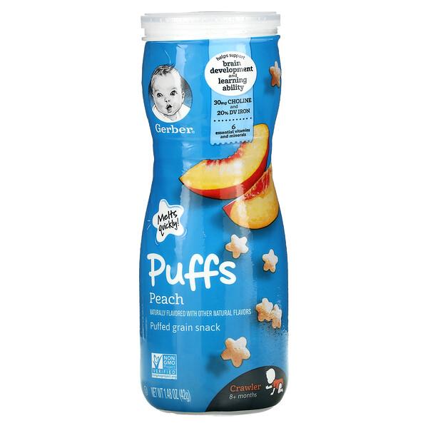 Puffs, Puffed Grain Snack, 8+ Months, Peach, 1.48 oz (42 g)