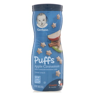Gerber, Puffs Cereal Snack, Crawler, 8+ Months, Apple Cinnamon, 1.48 oz (42 g)