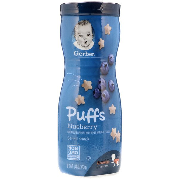 Puffs, Cereal Snack, 8+ Months, Blueberry, 1.48 oz (42 g)