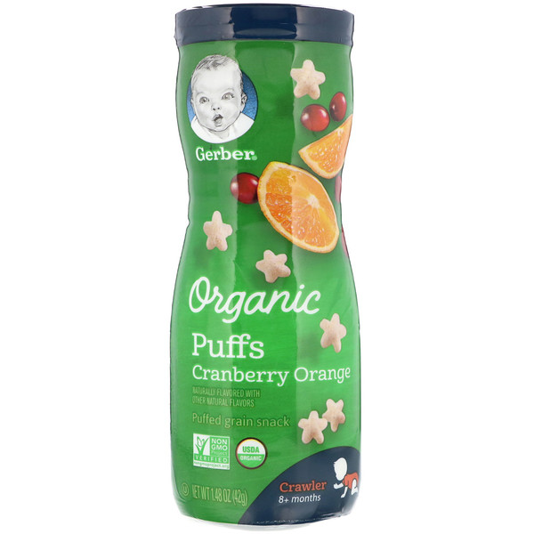 Organic Puffs, 8 + Months, Cranberry Orange, 1.48 oz (42 g)