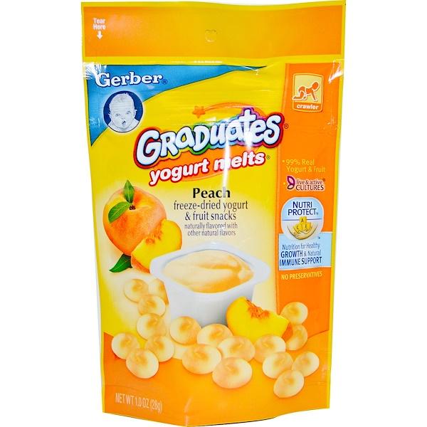 Gerber, Graduates, йогуртовые леденцы, персик, 28 г
