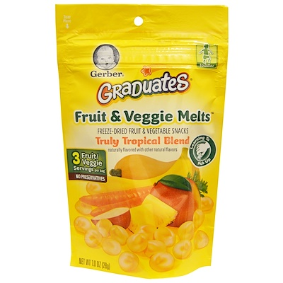 Gerber Graduates, Fruit & Veggie Melts, Truly Tropical Blend, 1.0 oz (28 g)