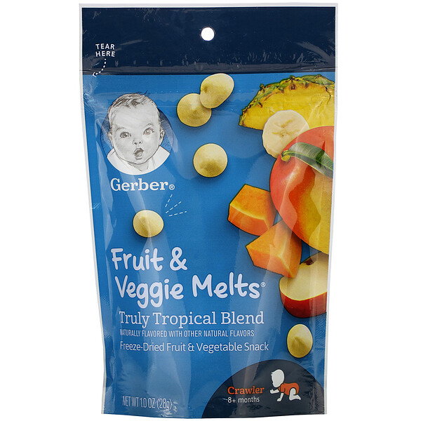 Graduates, Fruit & Veggie Melts, Truly Tropical Blend, Crawler 8+ Months, 1.0 oz (28 g)