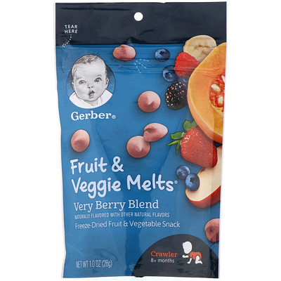 Купить Gerber Fruit & Veggie Melts, для малышей от 8месяцев, ягодная смесь, 28г (1унция)