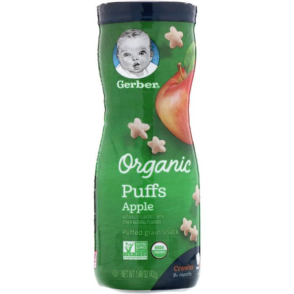 Gerber, Organic Puffs, 8 + Months, Apple, 1.48 oz (42 g)