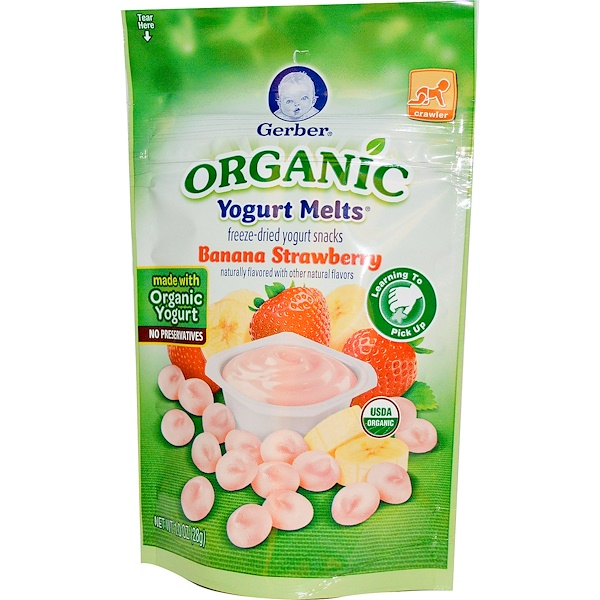 Gerber, Organic, Yogurt Melts, Banana Strawberry, 1.0 oz (28 g)