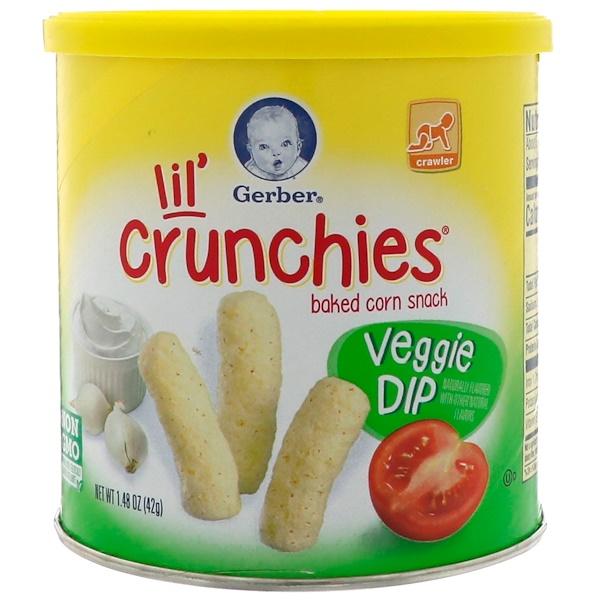 Gerber, Graduates, Lil' Crunchies, Veggie Dip, для детей, которые уже могут ползать, 1.48 унции (42 g)