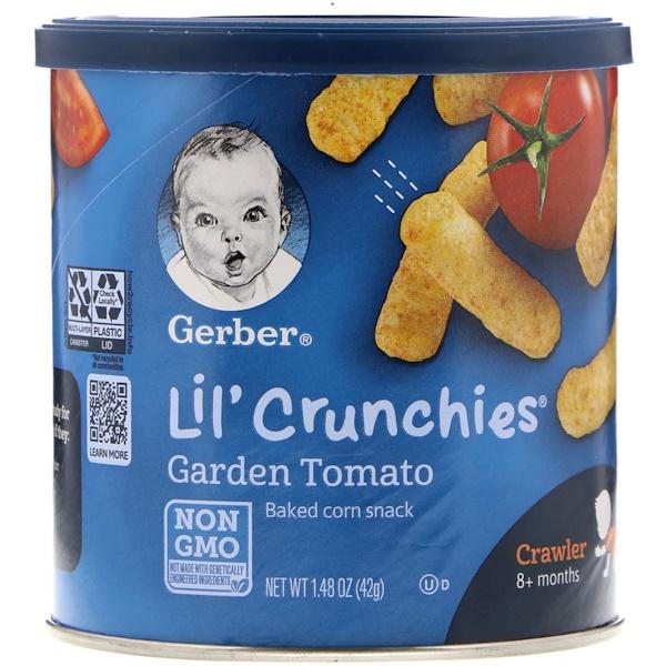 Gerber, 歩く前の赤ちゃん、小さなカリカリスナック、ガーデントマト、1.48 oz (42 g) (Discontinued Item)