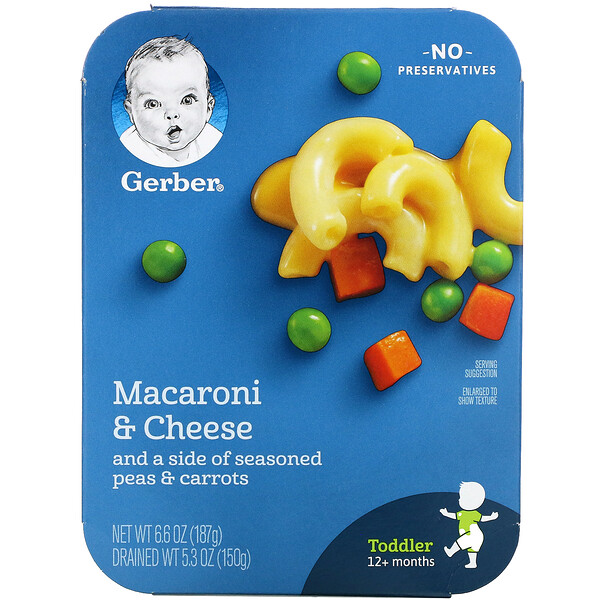 Gerber, Macaroni & Cheese and a Side of Seasoned Peas & Carrots, Toddler, 12+ Months, 6.6 oz (187 g)