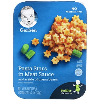 Gerber, Pasta Stars In Meat Sauce and a Side of Green Beans, 12+ Months, 6.8 oz (192 g)