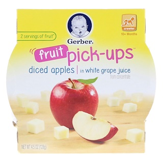 Gerber, Fruit Pick-Ups, Crawler, 10+ Months, Diced Apples In White Grape Juice, 4.5 oz (128 g)