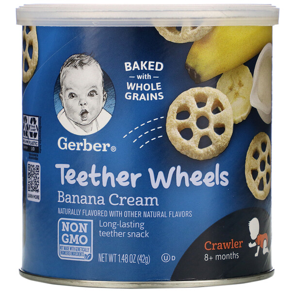 Gerber, Teether Wheels, 8+ Months, Banana Cream, 1.48 oz (42 g)