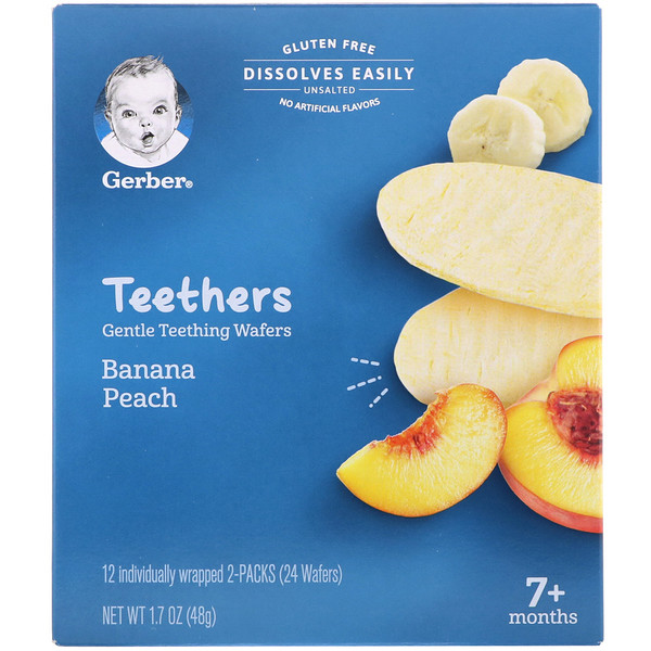 Gerber, Teethers, Gentle Teething Wafers, 7+ Months, Banana Peach, 12 Packs, 2 Wafers Each