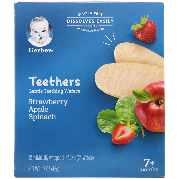 Teethers, Gentle Teething Wafers, 7+ Months, Strawberry Apple Spinach, 24 Wafers, 1.7 oz (48 g)