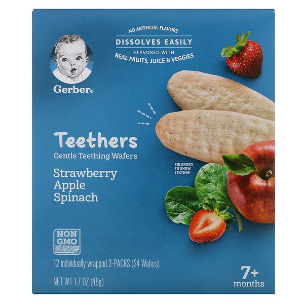 Teethers, Gentle Teething Wafers, 7+ Months, Strawberry Apple Spinach, 12 Packs, 2 Wafers Each