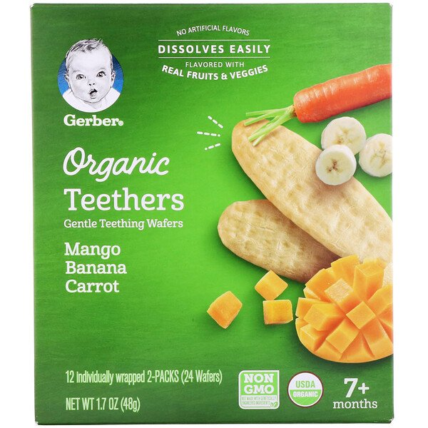 Organic Teethers, Gentle Teething Wafers, 7+ Months, Mango Banana Carrot, 12 Packs, 2 Wafers Each
