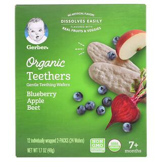 Gerber, オーガニックティーザーズ、やさしい歯固めウエハース、生後7か月以上、ブルーベリーリンゴビーツ、12袋(各2枚入り)