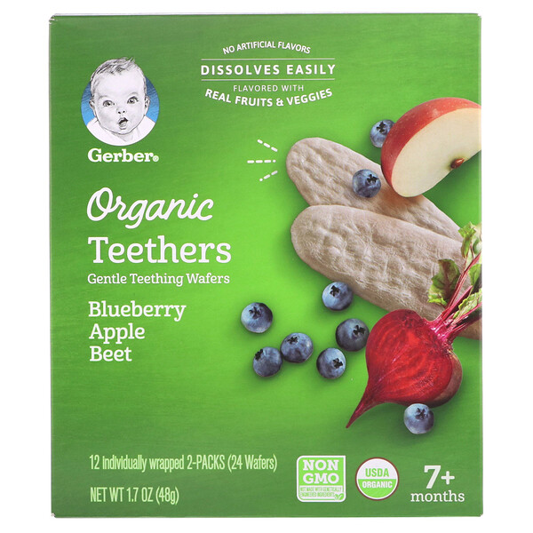 Organic Teethers, Gentle Teething Wafers, 7+ Months, Blueberry Apple Beet, 12 Packs, 2 Wafers Each