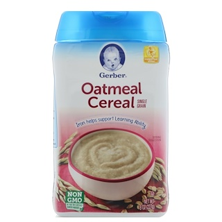 Gerber, Oatmeal Cereal, Single Grain, 8 أونصة (227 غ)