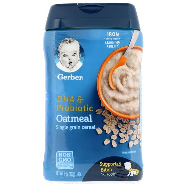 Gerber, DHA & Probiotic, Single Grain Oatmeal Cereal, Supported Sitter, 1st Foods, 8 oz (227 g)
