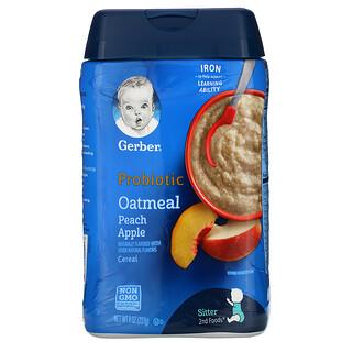 Gerber, пробиотические овсяные хлопья, персик и яблоко, 227г (8унций)