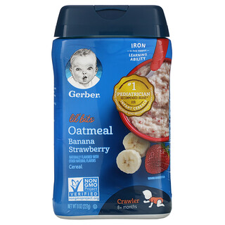 Gerber, Lil' Bits, Oatmeal Cereal, 8+ Months, Banana Strawberry, 8 oz (227 g)
