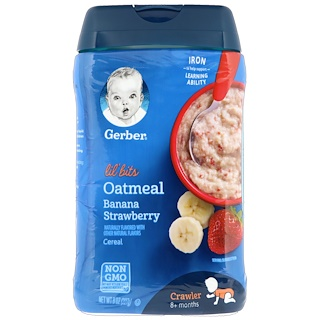 Gerber, Lil' Bits, Oatmeal Cereal, Crawler, 8+ Months, Banana Strawberry, 8 oz (227 g)