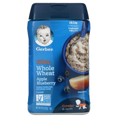 Купить Gerber Lil 'Bits, цельнозерновые хлопья, для малышей от 8месяцев, яблоко и черника, 227г (8унций)