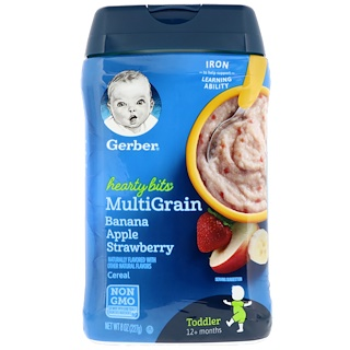 Gerber, Hearty Bits, MultiGrain Cereal, 12+ Months, Banana, Apple, Strawberry, 8 oz (227 g)