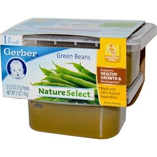 Gerber, 1st Foods, NatureSelect, Green Beans, 2 Packs, 2.5 oz (71 g) Each