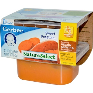 Gerber, 1st Foods, NatureSelect, Sweet Potatoes, 2 Packs, 2.5 oz (71 g) Each