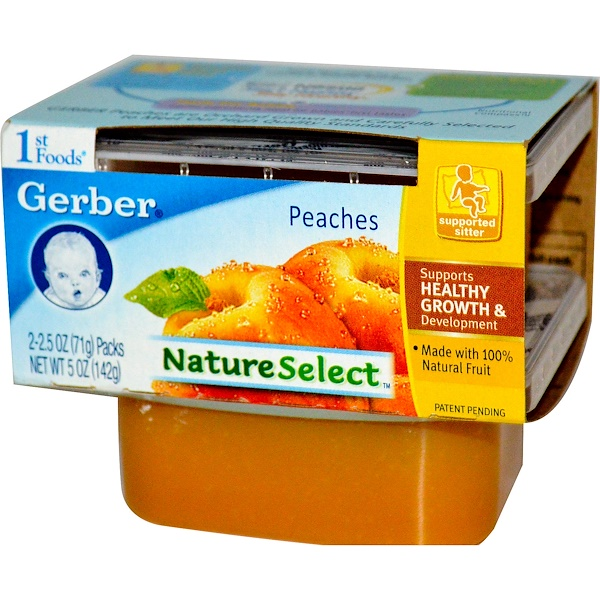 Gerber, 1st Foods, NatureSelect, Peaches, 2 Pack, 2.5 oz (71 g) Each