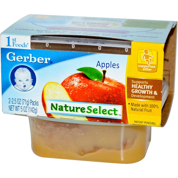 Gerber, 1st Foods, NatureSelect, Apples, 2 Packs, 2.5 oz (71 g) Each