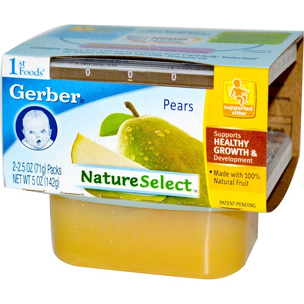 Gerber, 1st Foods, NatureSelect, Pears, 2 Pack, 2.5 oz (71 g) Each (Discontinued Item)