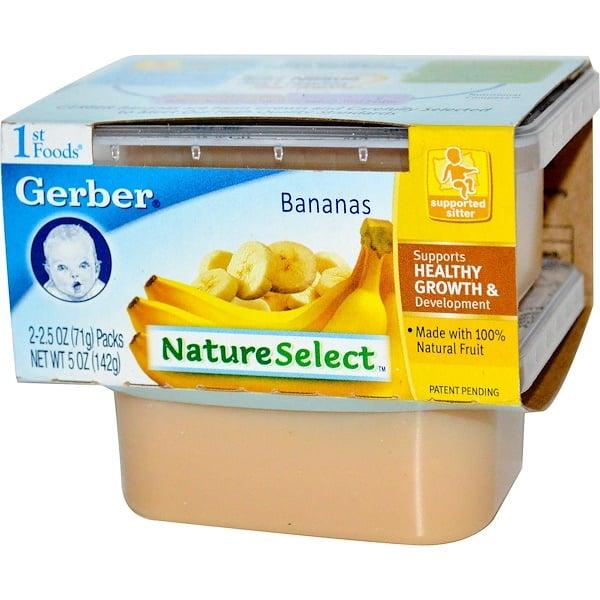 Gerber, 1st Foods, NatureSelect, Бананы, 2 упаковки, 2.5 унции (71 г) каждая (Discontinued Item)