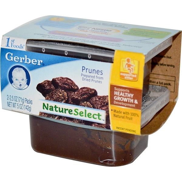 Gerber, 1st Foods, NatureSelect, Prunes, 2 Pack, 2.5 oz (71 g) Each