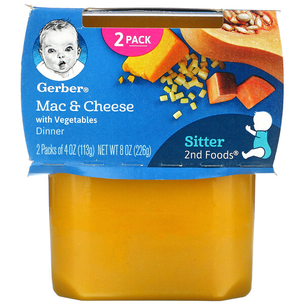 Mac & Cheese Dinner with Vegetables, Sitter, 2 Pack, 4 oz (113 g) Each