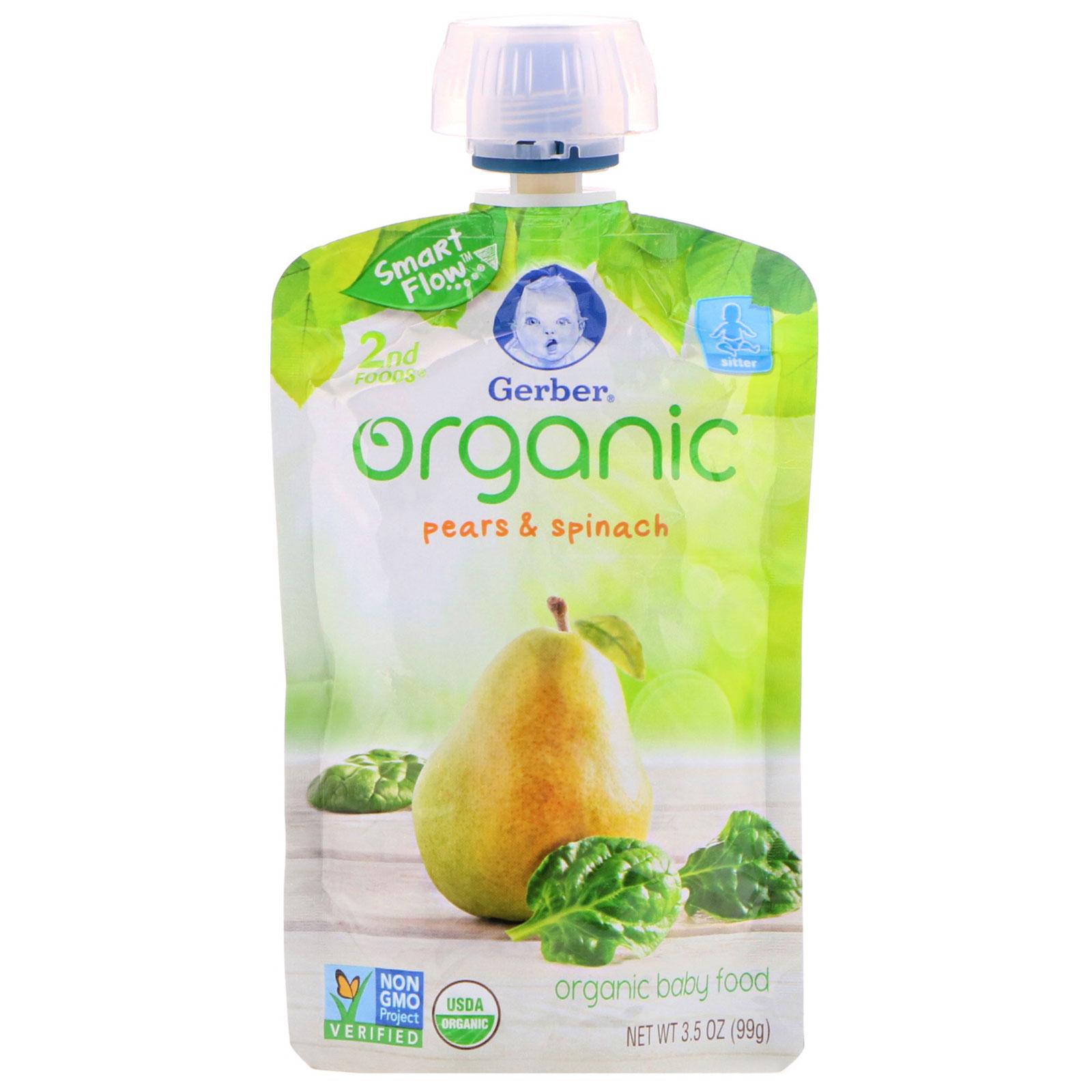 Gerber, 2nd Foods, comida orgánica para bebé, pera y espinaca, 3.5 ...